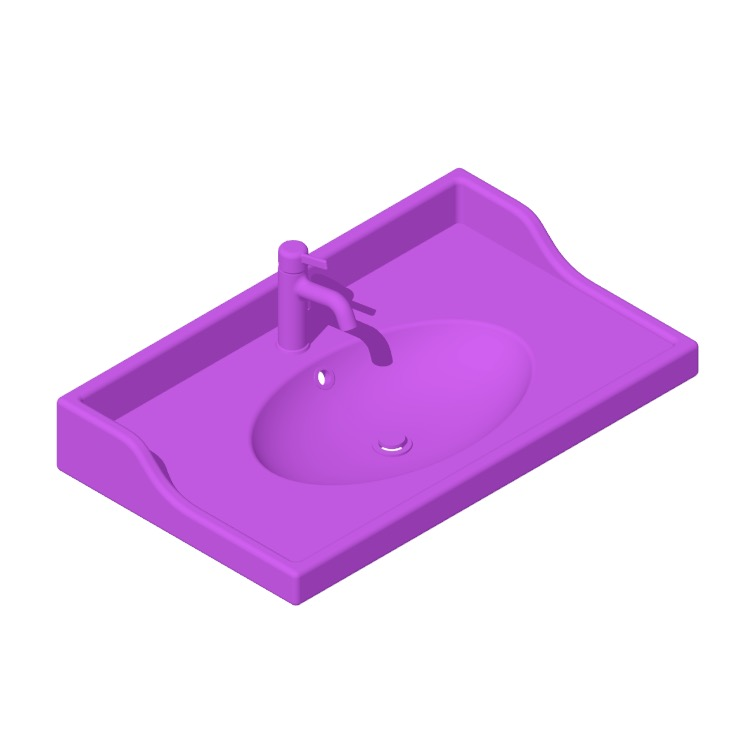 3D model of the IKEA Rättviken Bathroom Sink viewed in perspective