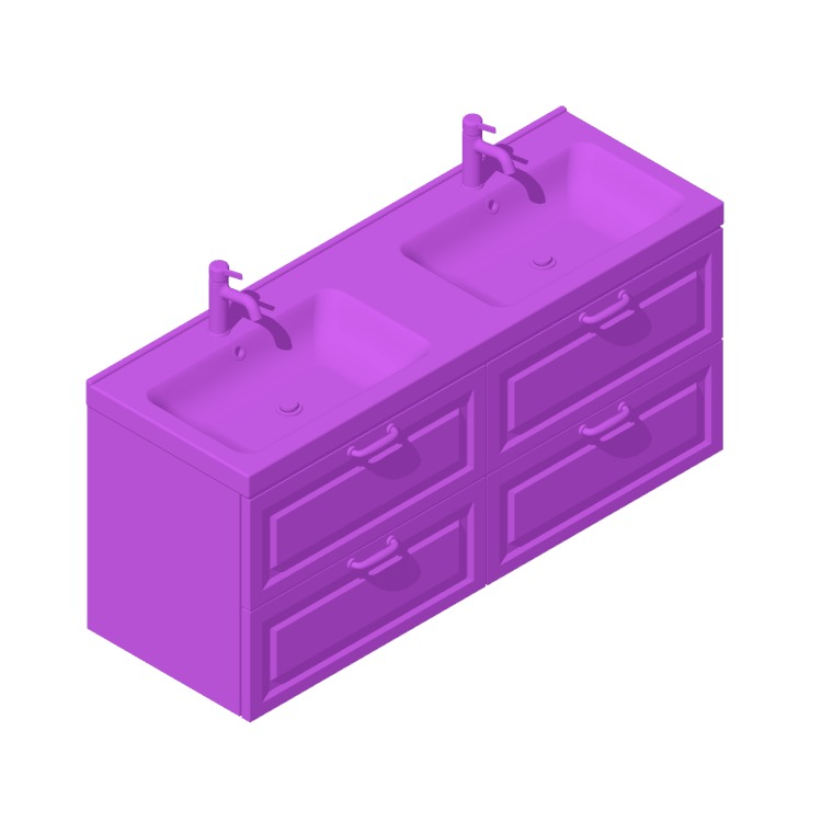 3D model of the IKEA GODMORGON / ODENSVIK Double Vanity - 4 Drawers, Bevel viewed in perspective