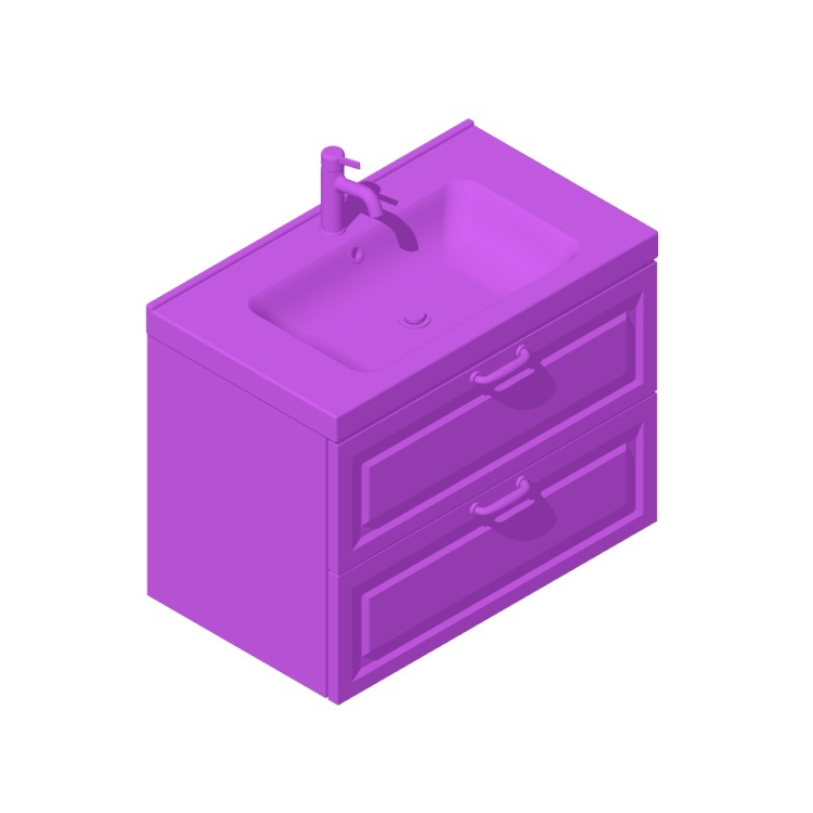 3D model of the IKEA GODMORGON / ODENSVIK Single Vanity - 2 Drawers, Bevel viewed in perspective