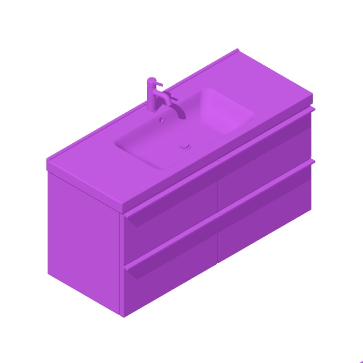 3D model of the IKEA GODMORGON / ODENSVIK Single Vanity - 4 Drawers, Line viewed in perspective