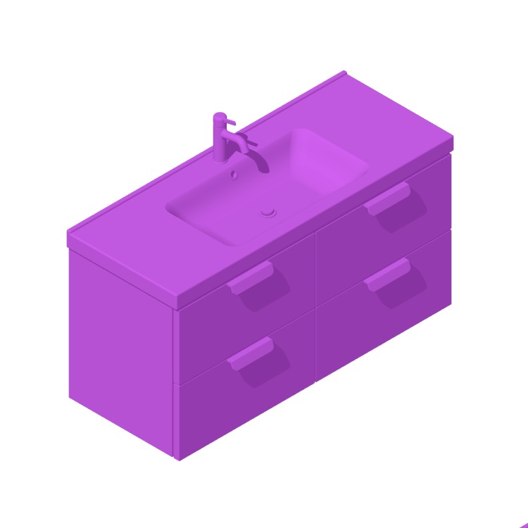 Perspective view of a 3D model of the IKEA GODMORGON / ODENSVIK Single Vanity - 4 Drawers, Tab