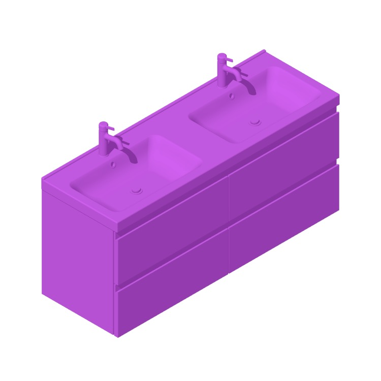 3D model of the IKEA GODMORGON / ODENSVIK Double Vanity - 4 Drawers, Slot viewed in perspective