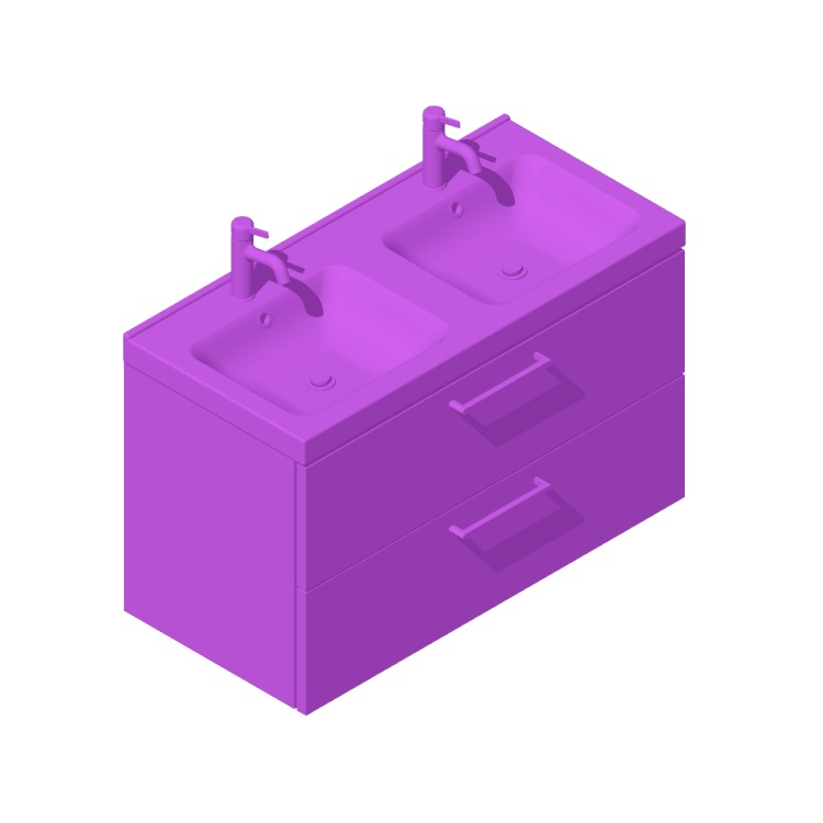 3D model of the IKEA GODMORGON / ODENSVIK Double Vanity - 2 Drawers, Handle viewed in perspective