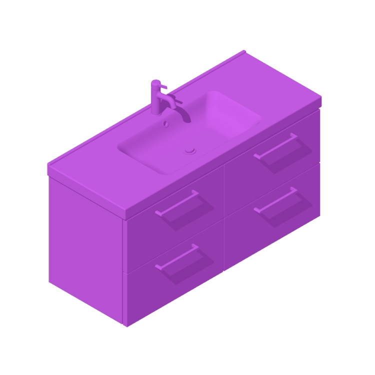 Perspective view of a 3D model of the IKEA GODMORGON / ODENSVIK Single Vanity - 4 Drawers, Handle