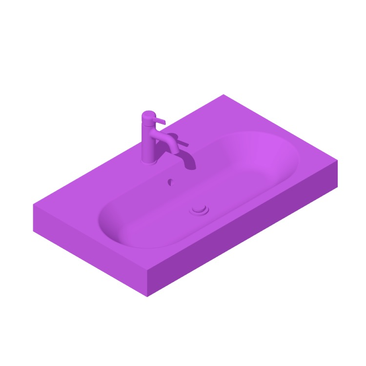 Perspective view of a 3D model of the IKEA Bråviken Bathroom Sink (Single Bowl)