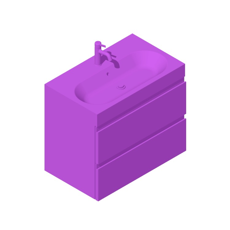 3D model of the IKEA GODMORGON / BRÅVIKEN Single Vanity 2 Drawers viewed in perspective