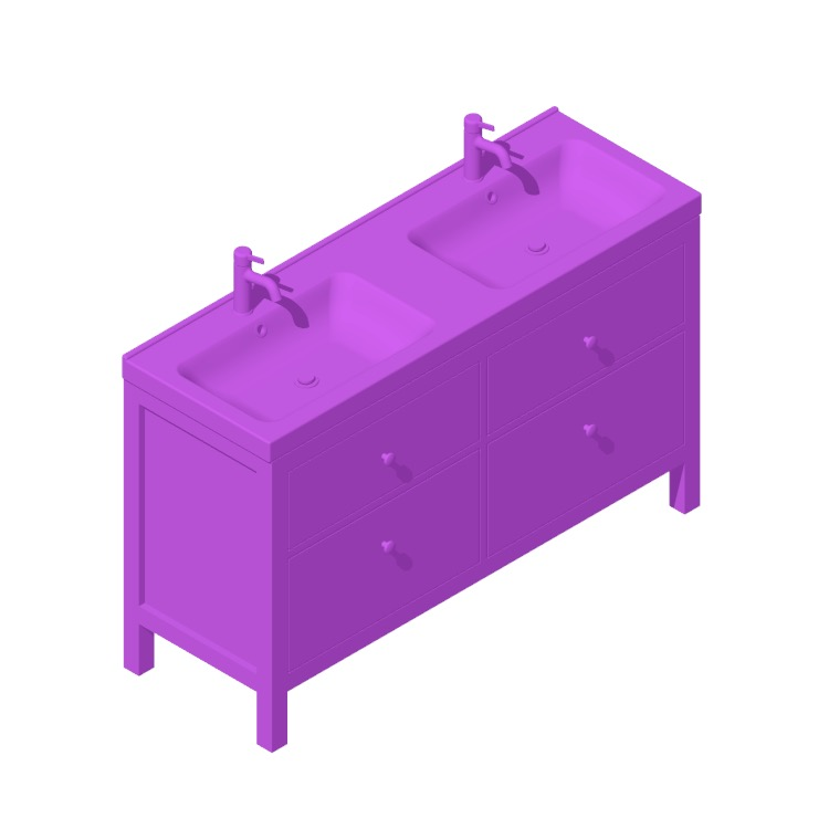 Perspective view of a 3D model of the IKEA HEMNES / ODENSVIK Double Vanity 4 Drawers