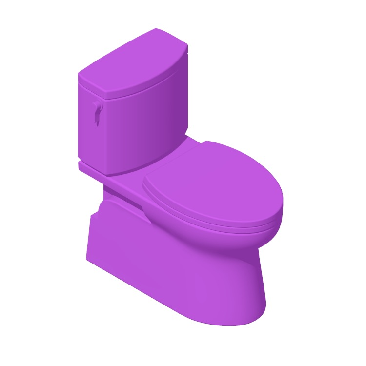 Perspective view of a 3D model of the TOTO Vespin II Two-Piece Toilet