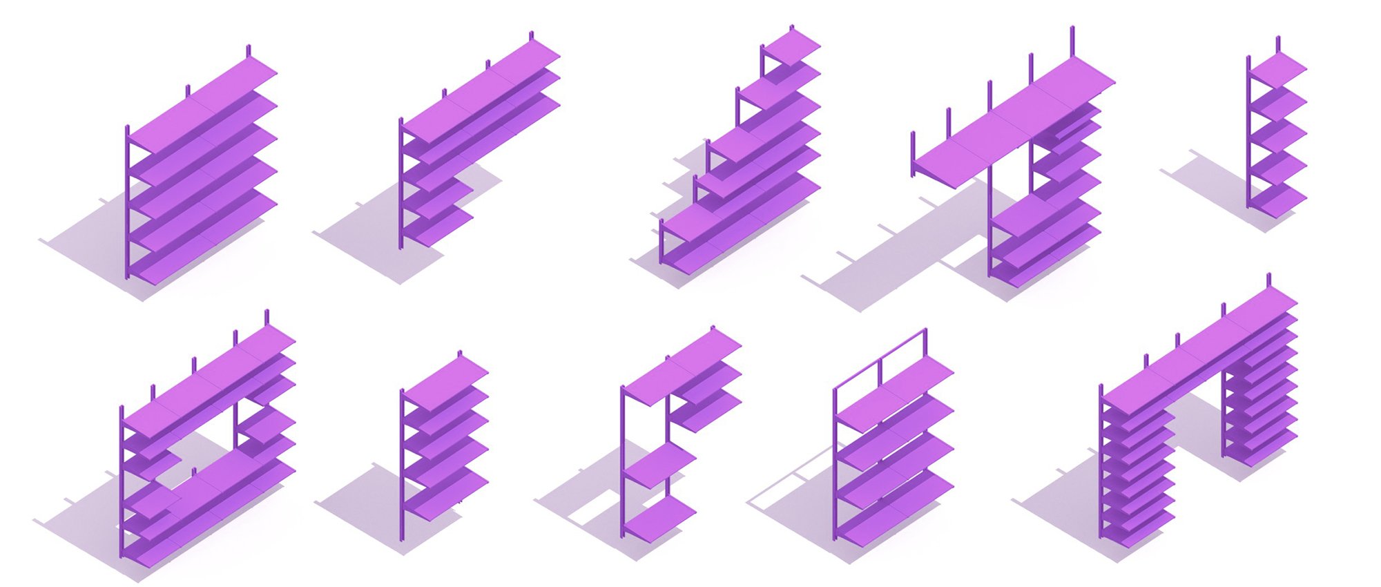 Collection of assorted shelving systems with different widths, heights, and storage configurations seen in 3D perspectives