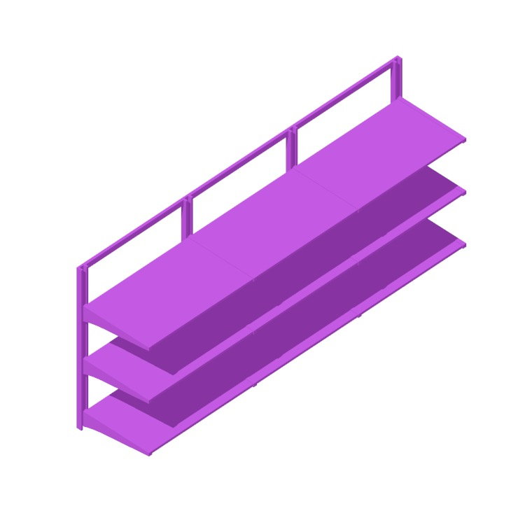 """Perspective view of a 3D model of the IKEA Algot Wall Upright System (75"""" - Short)"""