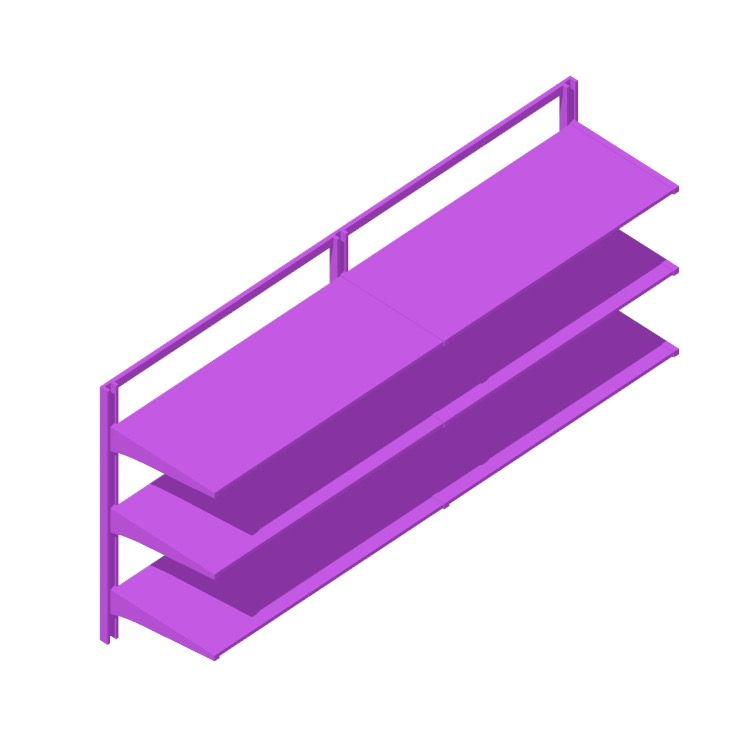 """3D model of the IKEA Algot Wall Upright System (69"""" - Short) viewed in perspective"""