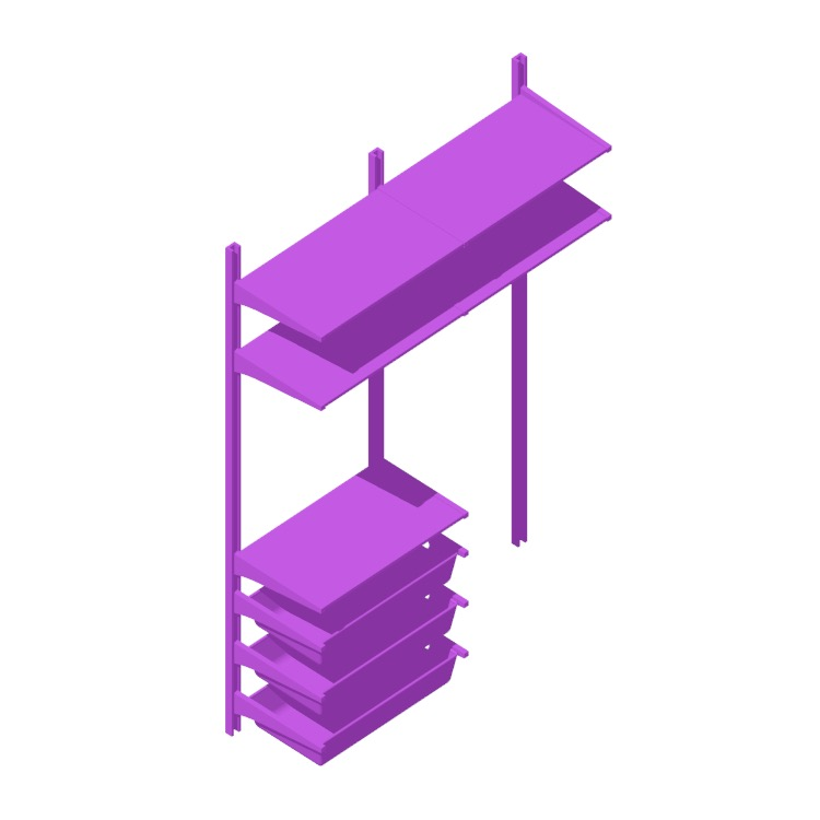 """View of the IKEA Algot Wall Upright System (52"""" - Baskets) in 3D available for download"""