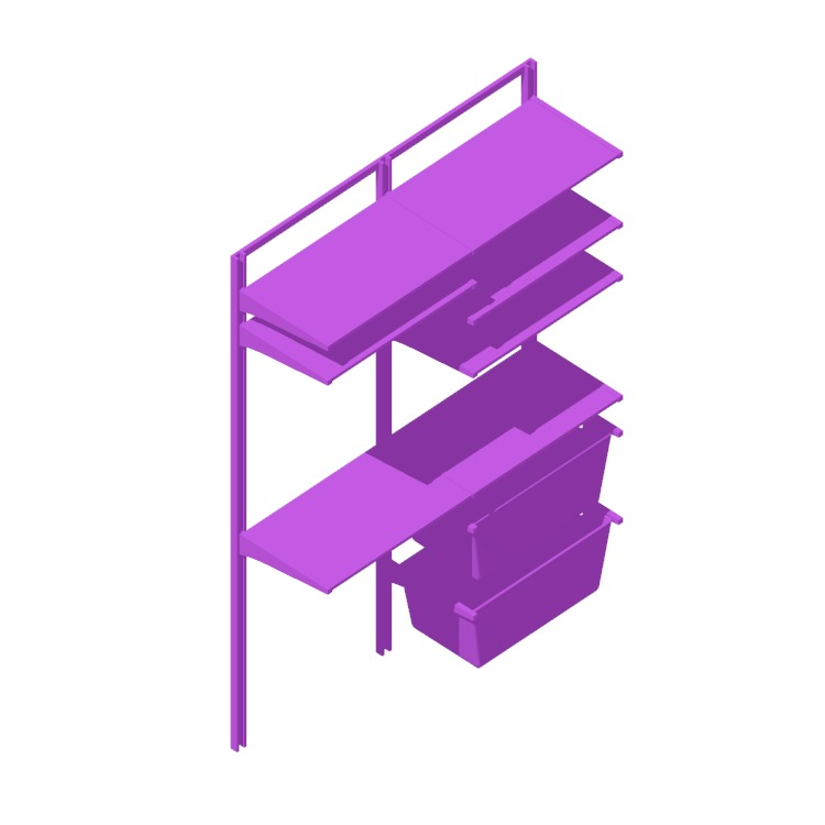 """Perspective view of a 3D model of the IKEA Algot Wall Upright System (52"""" - Drying Rack)"""