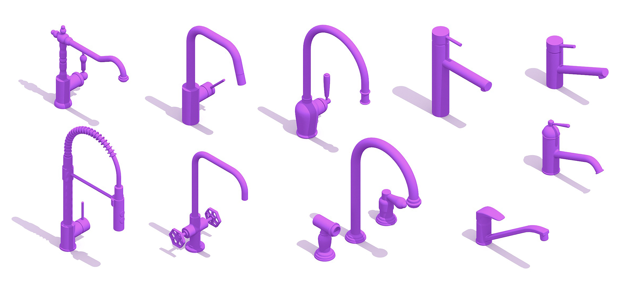 Collection of 3D Kitchen Faucets with assorted designs, sizes, shapes and functions