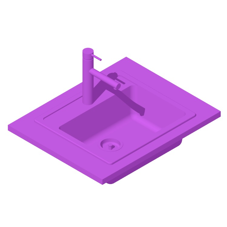 View of the IKEA Hällviken Kitchen Sink in 3D available for download