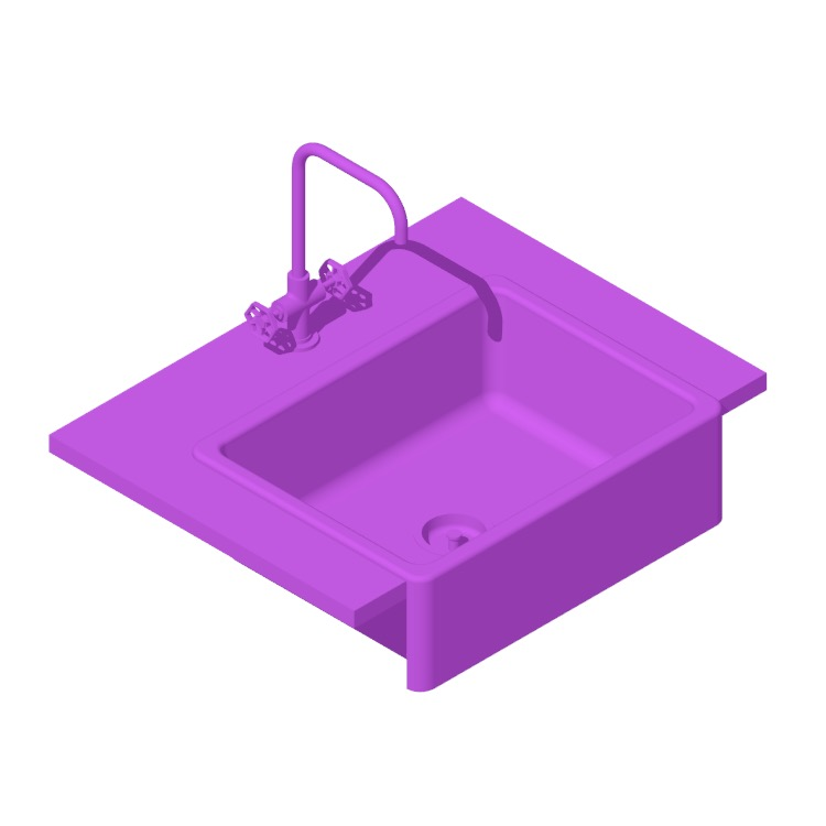 3D model of the IKEA Havsen Front Apron Kitchen Sink viewed in perspective