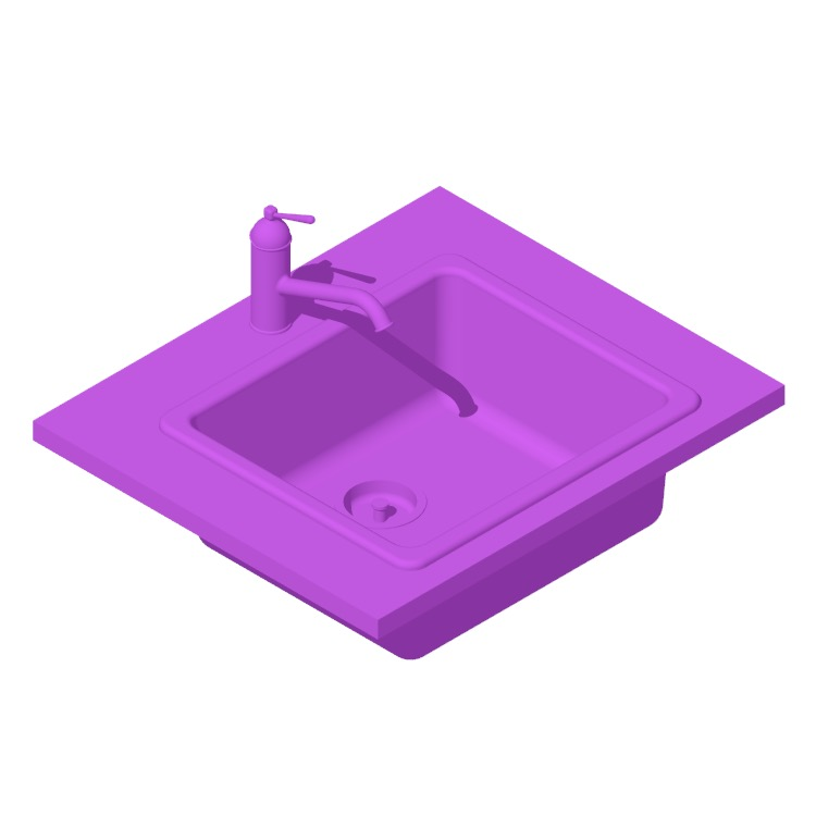 Perspective view of a 3D model of the IKEA Havsen Kitchen Sink