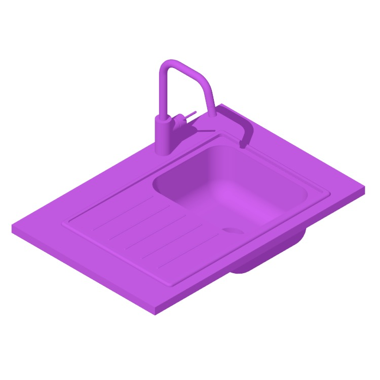 3D model of the IKEA Vattudalen Single Bowl Top Mount Kitchen Sink viewed in perspective