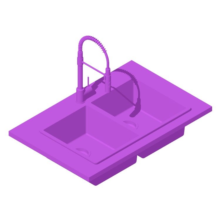 Perspective view of a 3D model of the IKEA Norrsjön Double Bowl Top Mount Kitchen Sink
