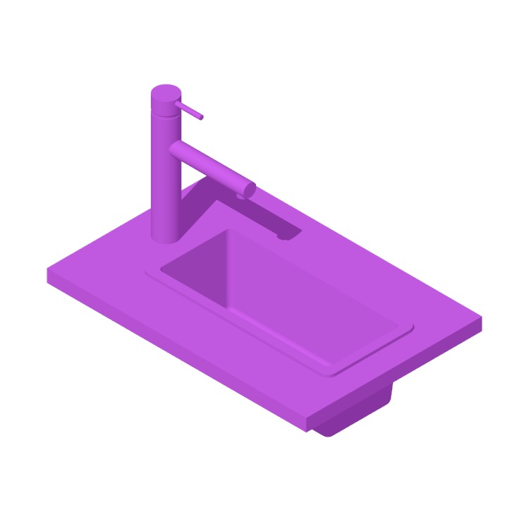 3D model of the IKEA Norrsjön Single Bowl Dual Mount Kitchen Sink viewed in perspective
