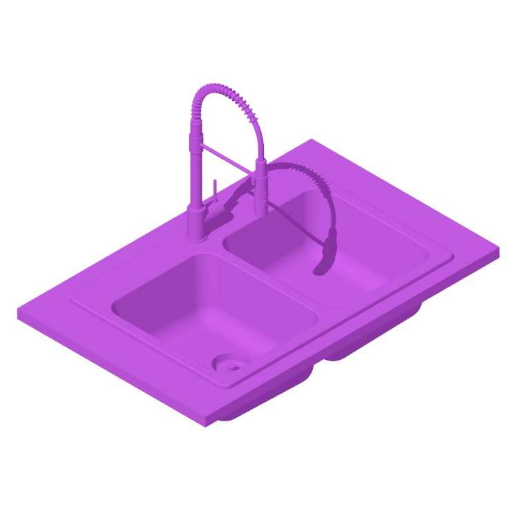 Perspective view of a 3D model of the IKEA Långudden Double Bowl Top Mount Kitchen Sink