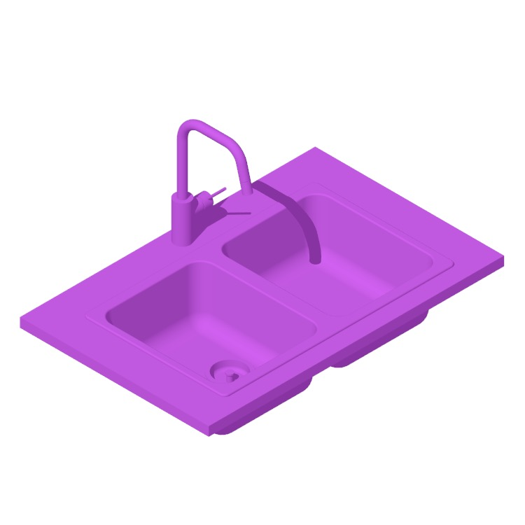 3D model of the IKEA Hillesjön Double Bowl Top Mount Kitchen Sink viewed in perspective
