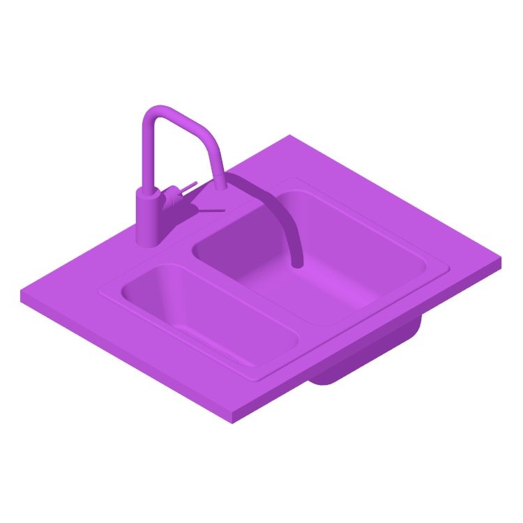 Perspective view of a 3D model of the IKEA Hillesjön 1.5 Dual Mount Small Large Kitchen Sink