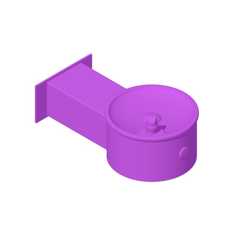 3D model of the Willoughby Single Outdoor Wall Mounted Drinking Fountain viewed in perspective