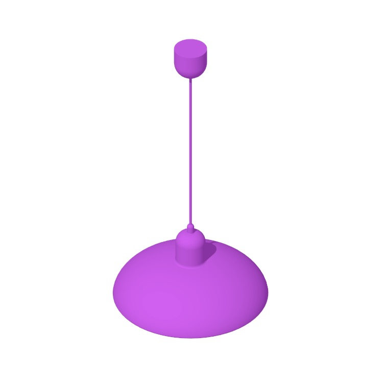 Perspective view of a 3D model of the Kaiser-idell Pendant Lamp