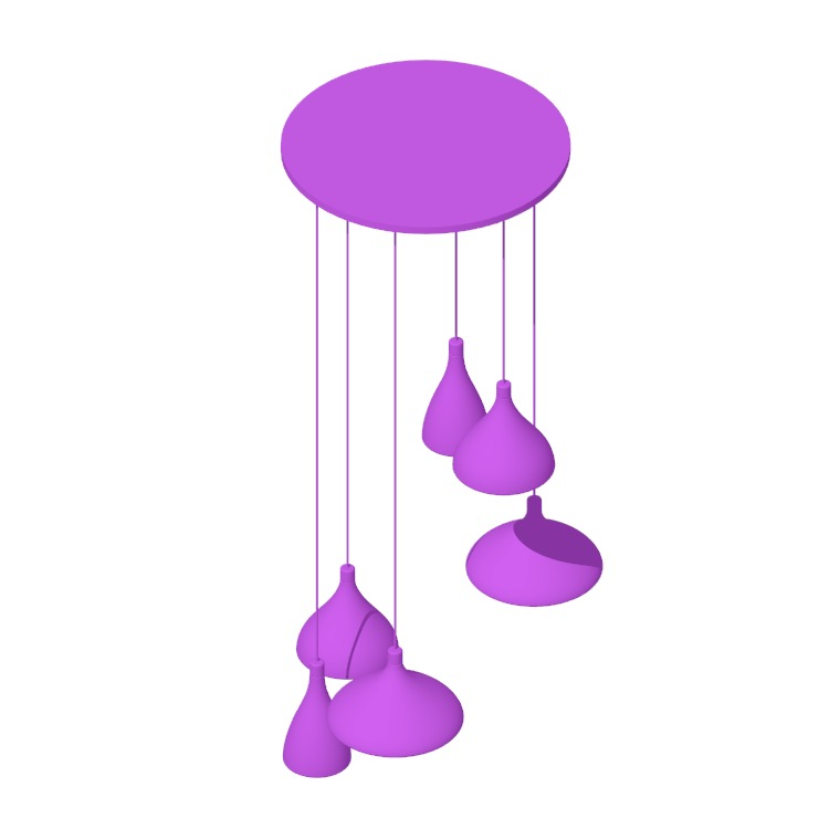 Perspective view of a 3D model of Swell Pendants of various sizes clustered together