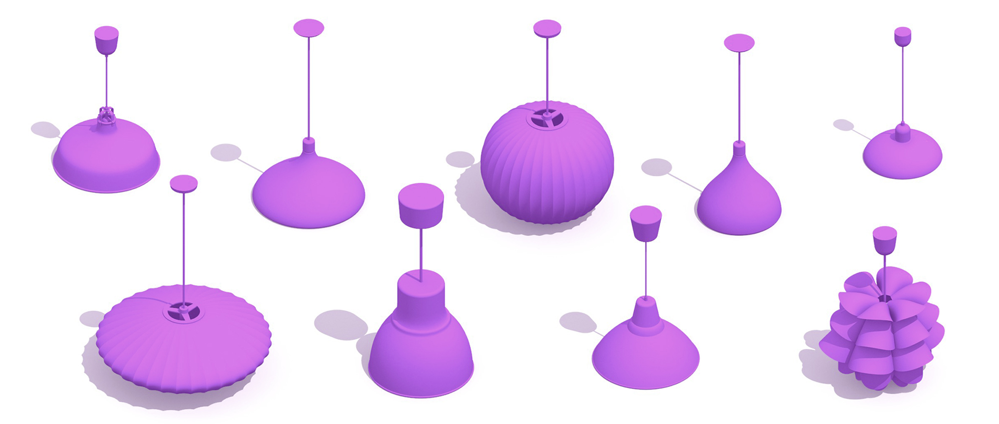 Collection of various Pendant Lights in 3D showing a range of designs, sizes, styles, and functions