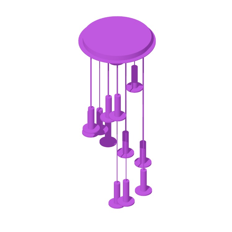 3D model of the Cielo 13 Chandelier viewed in perspective