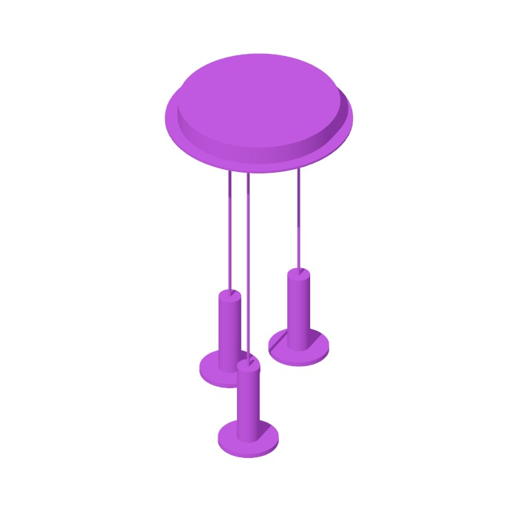 View of the Cielo 3 Chandelier in 3D available for download