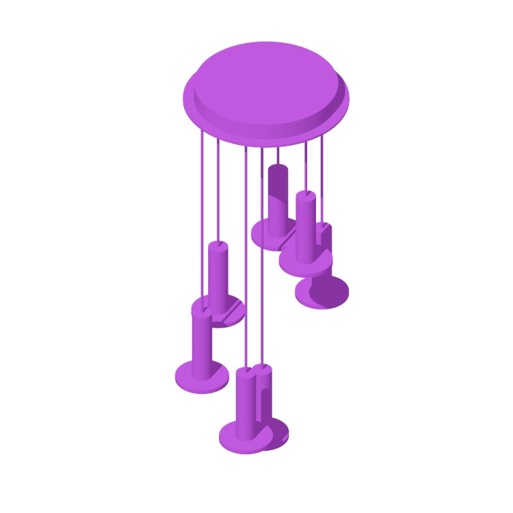 3D model of the Cielo 7 Chandelier viewed in perspective