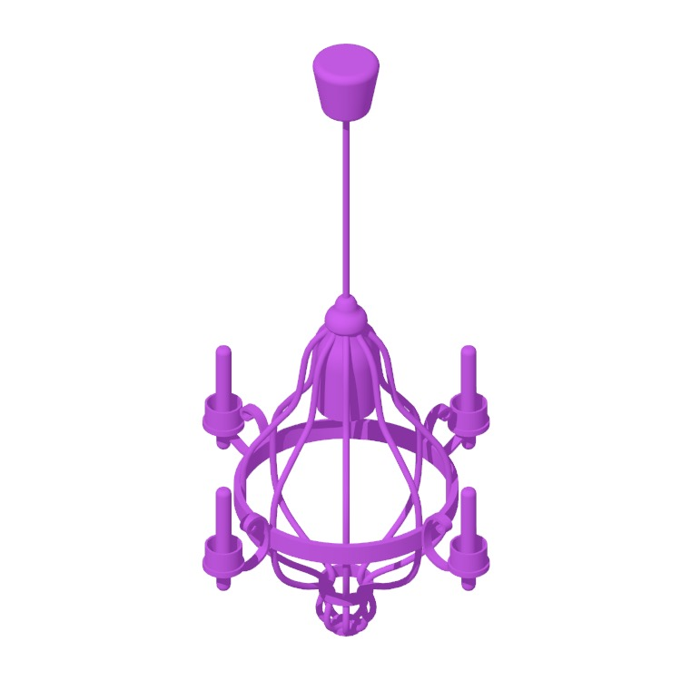 Perspective view of a 3D model of the IKEA Äppelviken Chandelier