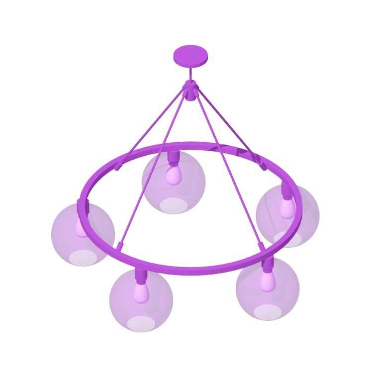 Perspective view of a 3D model of the Sola 36 Chandelier