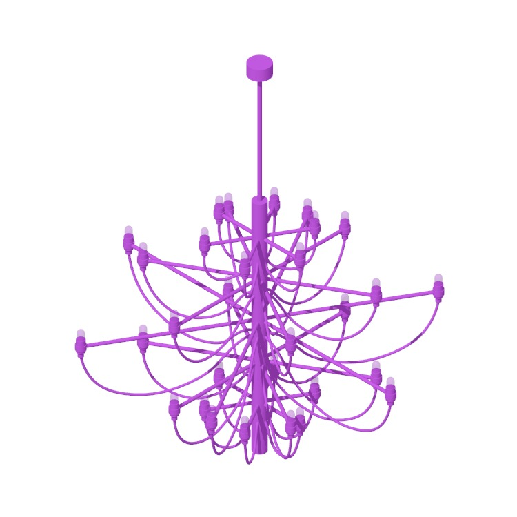 Perspective view of a 3D model of the Model 2097 30 Chandelier