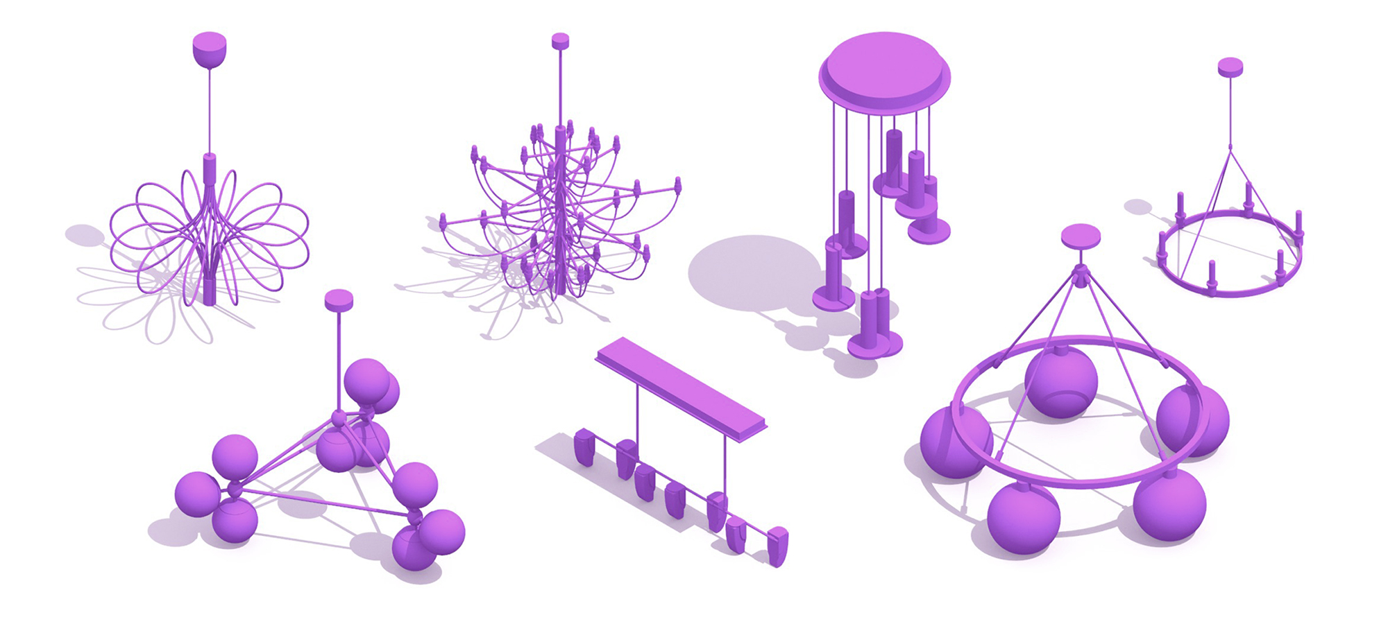 Assorted collection of unique chandelier designs, styles, sizes, and uses viewed in 3D