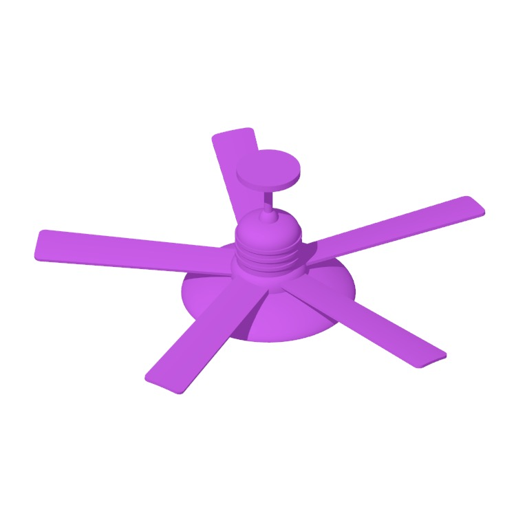 3D model of the RainMan 5-Blade Ceiling Fan viewed in perspective
