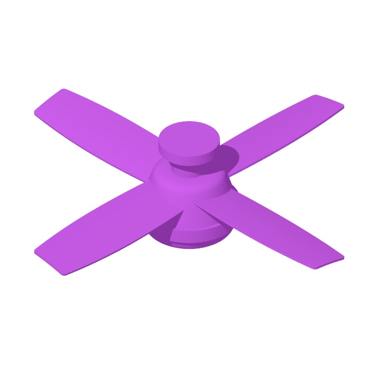 View of the Dempsey Low Profile 4-Blade Ceiling Fan in 3D available for download