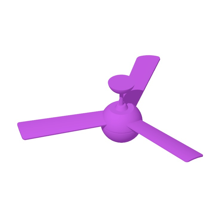 Perspective view of a 3D model of the IKEA Stormvind 3-Blade Ceiling Fan