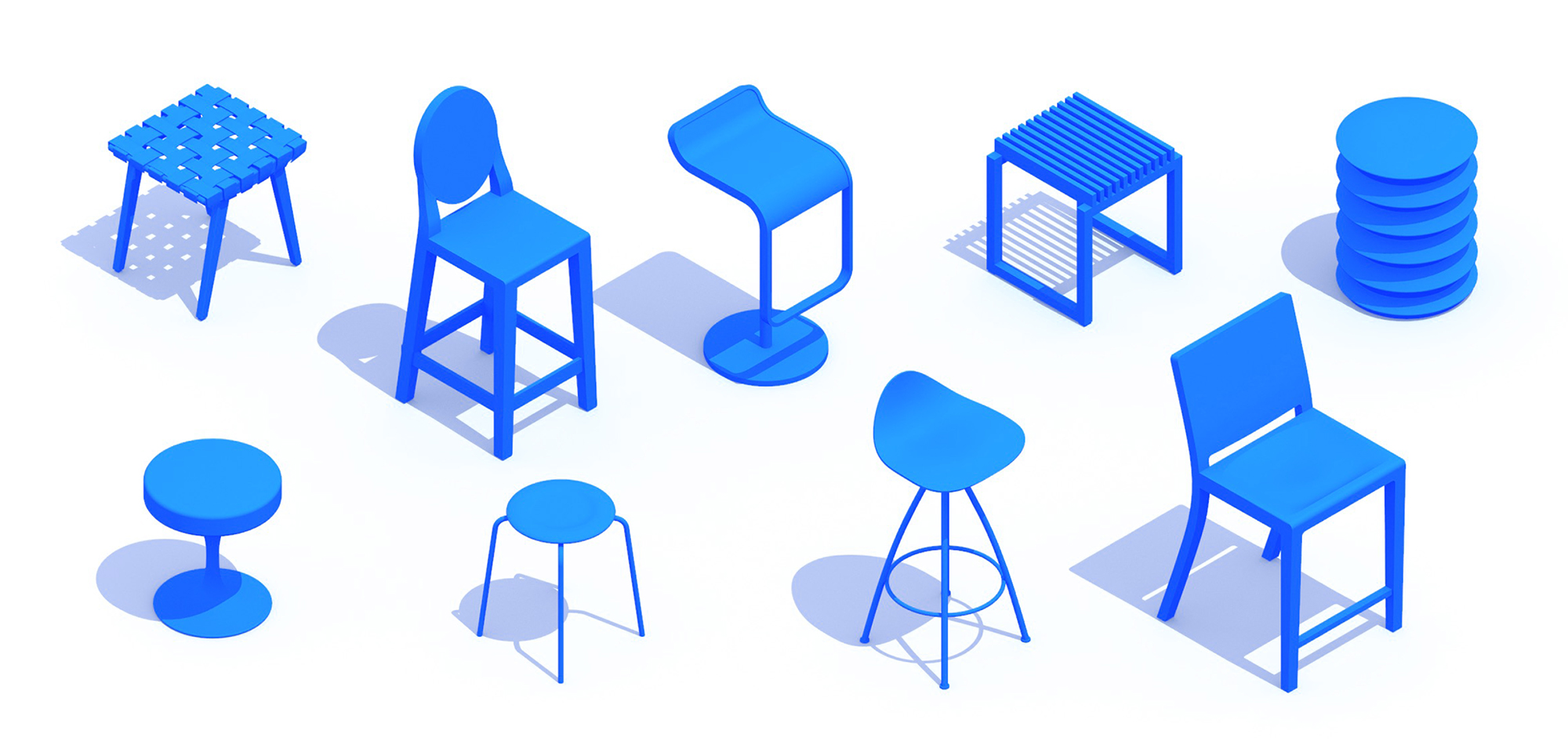 Collection of 3D Stools showing a diversity of sizes, styles, and types