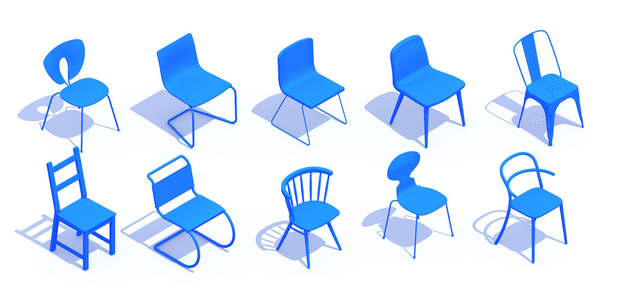 3D perspective of a collection of Side Chairs (Dining Chairs) showing many different sizes, styles, and designs