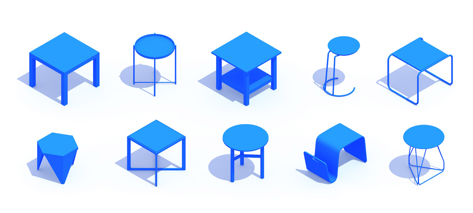 Assorted group of scaled 3D End Tables, or Side Tables, representing a range of sizes, styles, functions and designs