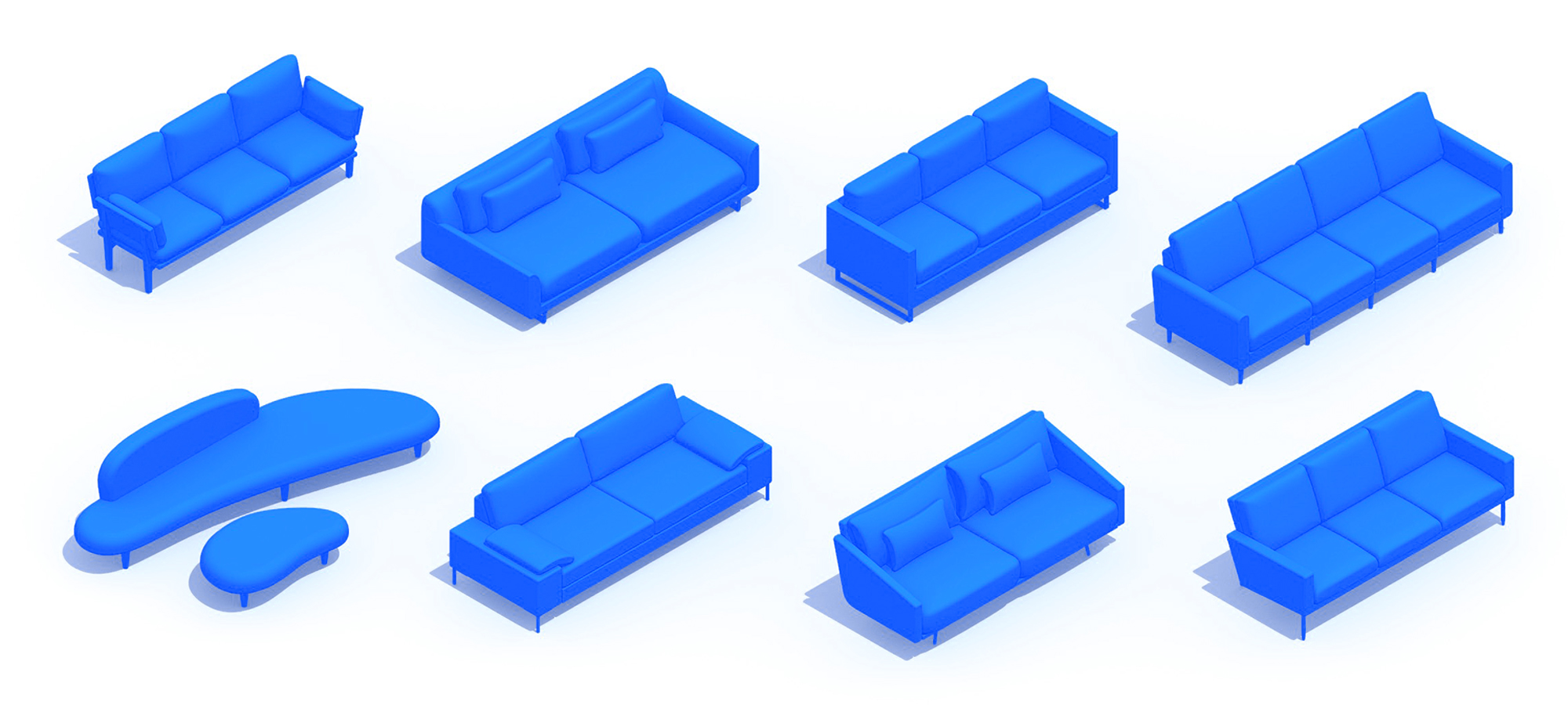 Assorted group of scaled 3D Couches (Sofas) representing a range of sizes, styles, functions and designs
