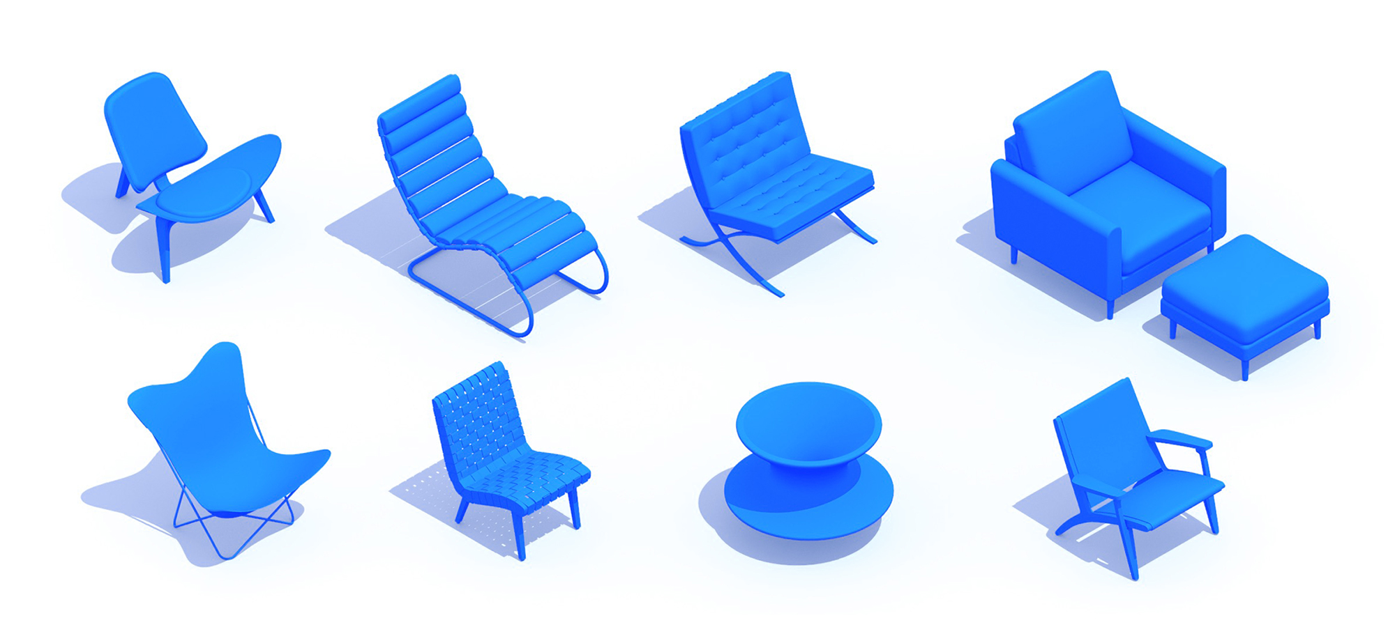 3D perspective of a collection of Lounge Chairs (Accent Chairs) showing many different sizes, styles, and designs