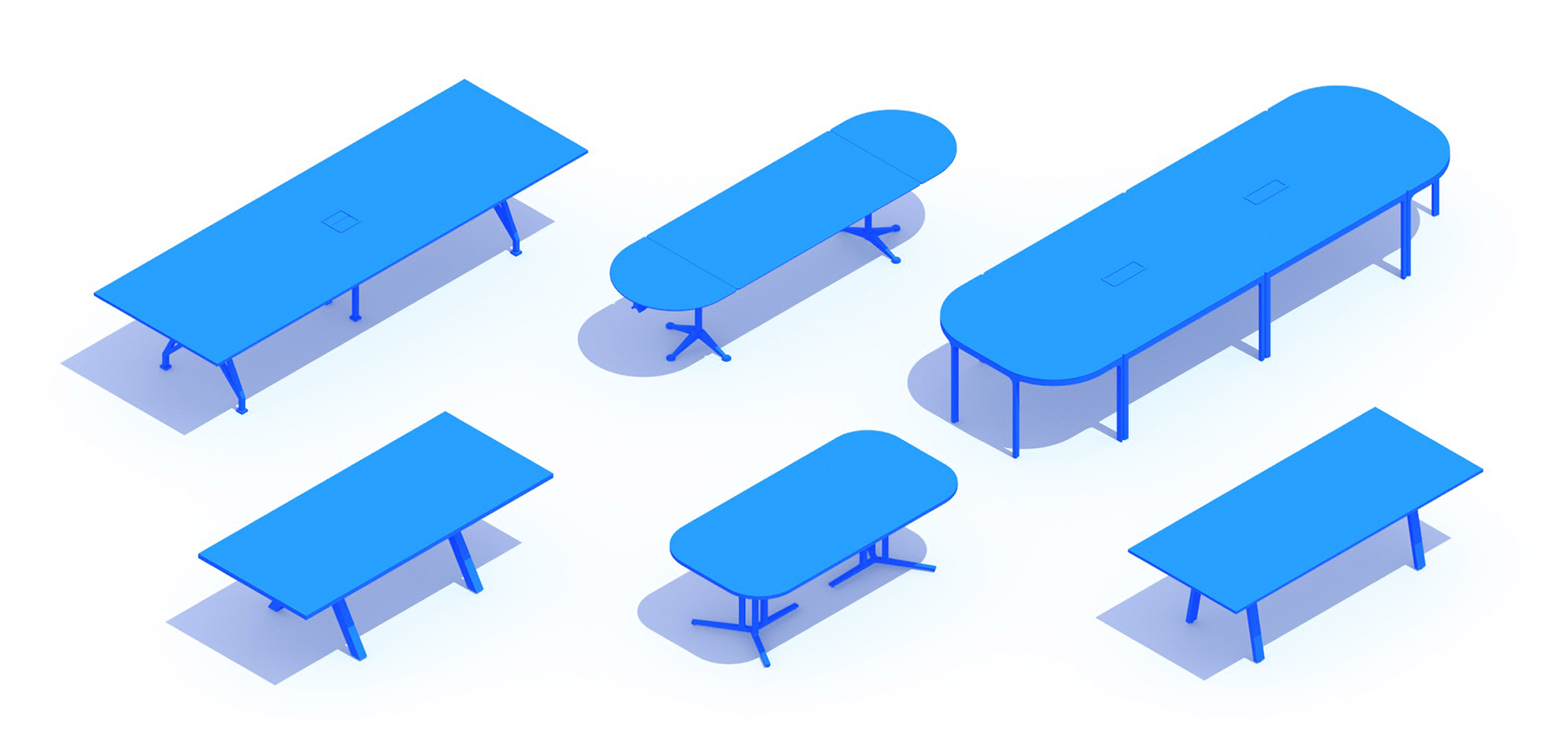 Collection of 3D Conference Tables showing a diversity of sizes, styles, and types
