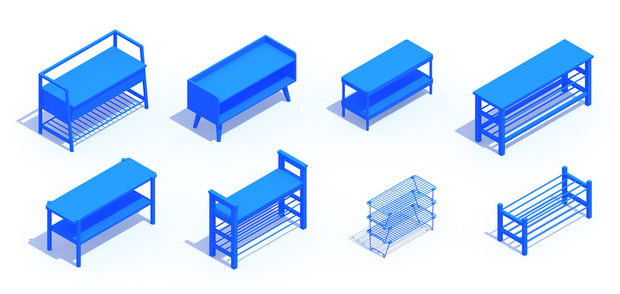 Collection of 3D Shoe Racks (Shoe Storage) showing a diversity of sizes, styles, and types