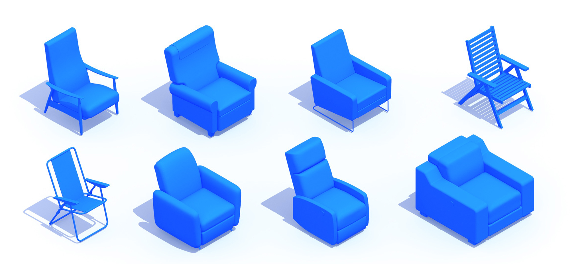 Collection of 3D Recliners showing a diversity of sizes, styles, and types