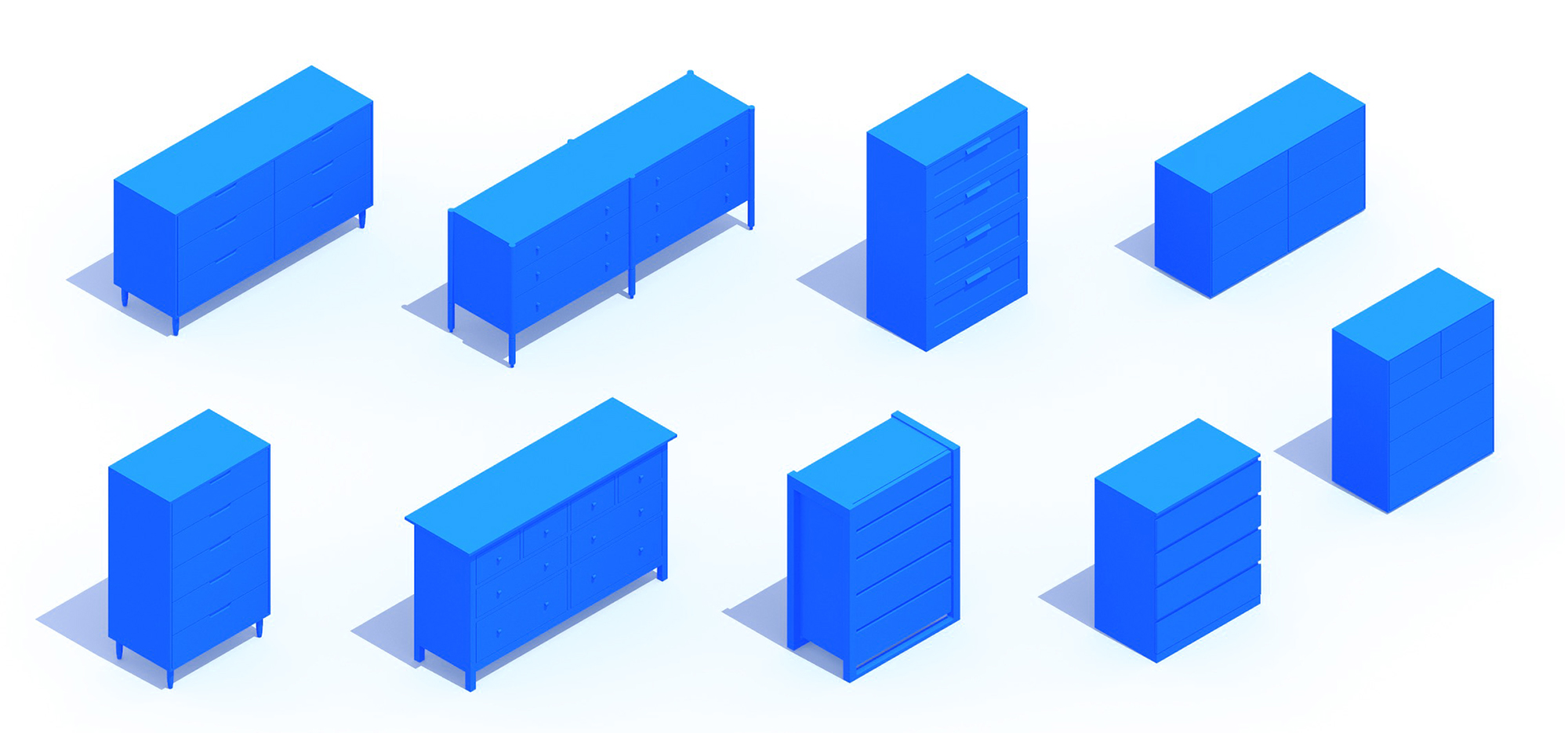 Assorted group of scaled 3D Dressers, or Chests, representing a range of sizes, styles, functions and designs